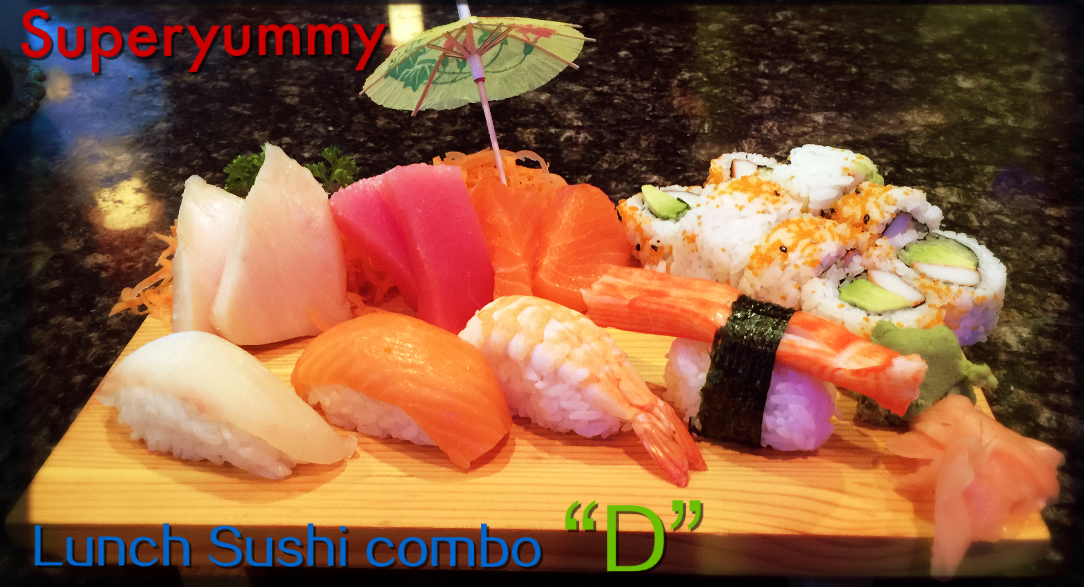 D. California Roll with 4 pcs Sushi, 6 pcs Sashimi (Chef's Choice) *